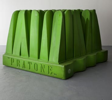 Pratone's lush leaves of giant foam grass take the lawn chair literally.
