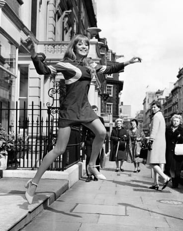 Pattie Boyd modelling in London in 1966.