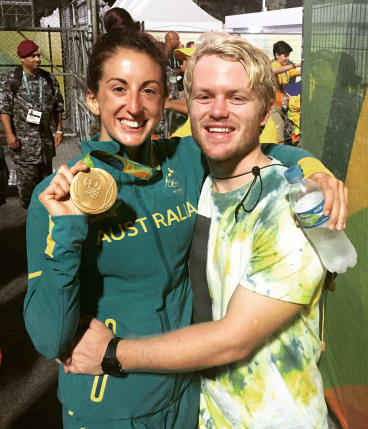ACT Brumbies recruit Matt Lucas with partner Alicia Quirk after winning a rugby sevens gold medal at the Rio Olympic Games.