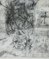 In A Shiny Bone under a Heavy Light, Sophie Cape draws lines in charcoal and white chalk around and through the outline of a head.