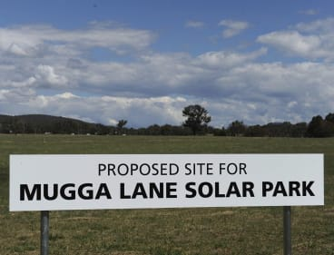 The site of the Mugga Lane solar farm.