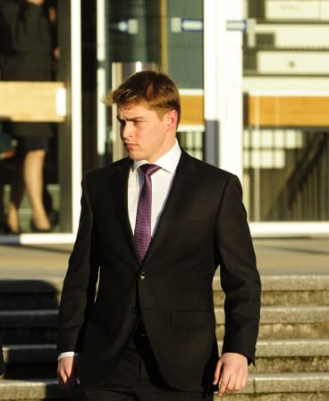 Royal Military College cadet Jonathan David Hibbert leaves the ACT Supreme Court on Monday.