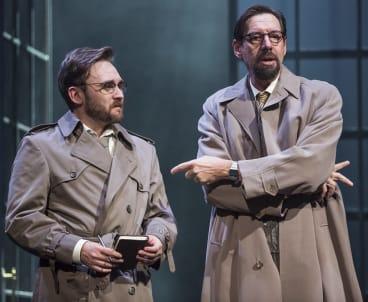 Robin Goldsworthy (left) and  Philip Dodd in Bell Shakespeare's  Hamlet.