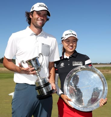 Winning grins: Men's and women's Vic Open winners Simon Hawkes and Minjee Lee.