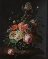 Rachel Ruysch's Still Life with Flowers on a Marble Tabletop (1716).