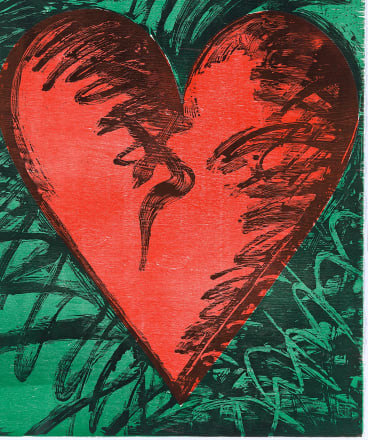 Jim Dine, Rancho woodcut heart, 1982, colour woodcut, National Gallery of Victoria, Melbourne, gift of the artist.