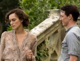 James McAvoy with Keira Knightley in <i>Atonement</i>.