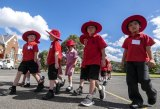 First day excitement at St Kilda Primary School.