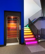 Interactive lighting on the staircase created by Ilan El at Justin Art House Museum.
