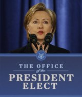 In 2008, then-Secretary of State-designate Hillary Clinton speaks during a news conference with President-elect Barack Obama.