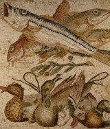 A mosaic of fish and ducks from the ancient Roman city of Pompeii.