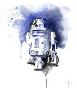 An R2-D2 watercolour reflects the elegant interpretation of  Blule, aka Clementine Campardou.