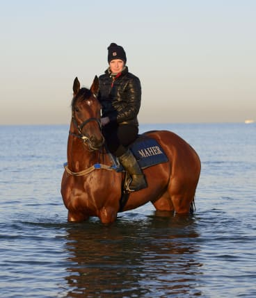Track rider  Lucy Yeomans, who gets up at 3am each day, has found her job perfectly suited to her natural sleep pattern.