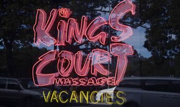 Kings Court Massage Parlour's Broadway shopfront.