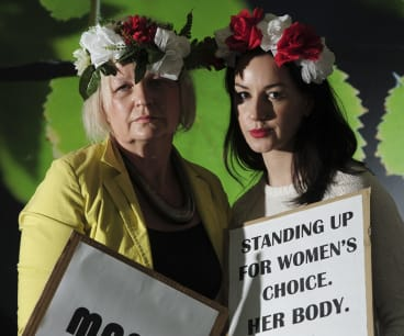 Canberra Polish women denounce a proposal to tighten already strict abortion laws. Mother and daughter, Dana, left and Patricia Olejniczak.