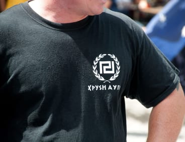 A Reclaim Australia protester wore a neo_Nazi Golden Dawn party T-shirt to the rally.