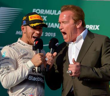 Arnold Schwarzenegger and Formula 1 winner Lewis Hamilton on Sunday.