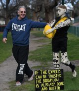Gary McCosh with his Dusty Martin statue at Punt Road.
