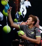 In demand ... Denis Istomin caused the upset of the tournament, beating defending champion Novak Djokovic in the second round.