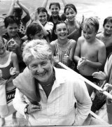 Fraser is cheered by children at her local swimming pool shortly after her election win in Balmain.