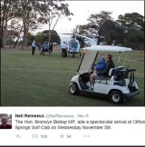 Spectacular entrance: Bronwyn Bishop arrives at Clifton Springs Gold Club in November.