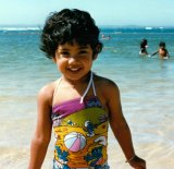 Latika Bourke at the beach in Mollymook, on the NSW South Coast.