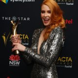 Emma Booth poses with her AACTA Award for Best Lead Actress (Film) in Hounds of Love.