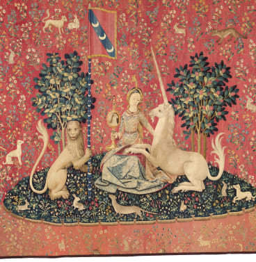 """""""Sight"""" from The Lady and the Unicorn series, c1500,"""