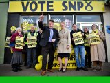 SNP general election candidate for Edinburgh East Tommy Sheppard and Scotland's Health Secretary Shona Robertson during campaigning on April 2, in Portobello, Scotland.