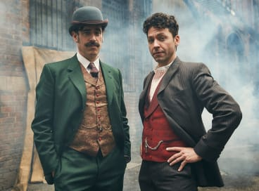 Stephen Mangan and Michael Weston in Houdini & Doyle:  something's not quite right.