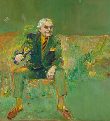 Eric Smith's controversial <i>Rudy Komon</I> portrait that won the 1981 Archibald Prize.