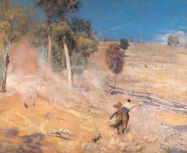 'A break away!' is one of Tom Roberts' iconic works, of runaway sheep.