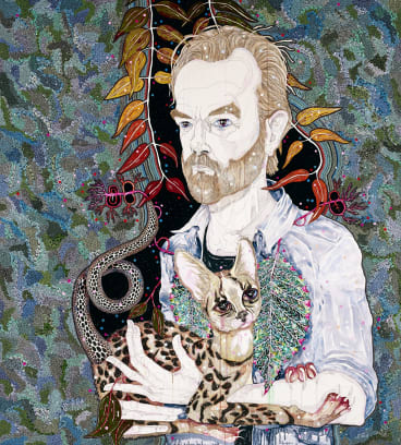 Del Kathryn Barton's 2013 Archibald Prize-winning portrait of Hugo Weaving was gifted to the actor.