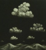 Peter McLean shows a sense of playful inventiveness with <i>The sky</i>, 2017, mezzotint.