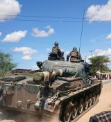 A Kenya Defence Forces tank arrives at Garissa University College.