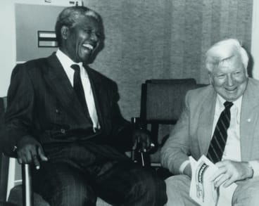 Pat Geraghty with Nelson Mandela