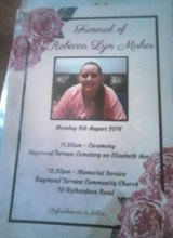 The order of service from Rebecca Maher's funeral.