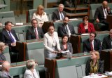Anne Aly making her maiden speech in federal Parliament in September.