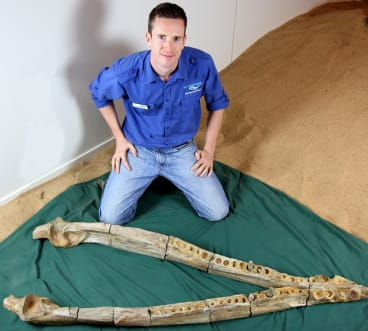 Dr Timothy Holland with the mandible of the Kronosaurus.