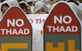 South Korean protesters attend a rally to oppose a deployment of the THAAD anti-missile system.