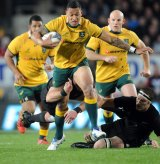 Carrying the ball this year for the Wallabies against New Zealand as a rugby union international.