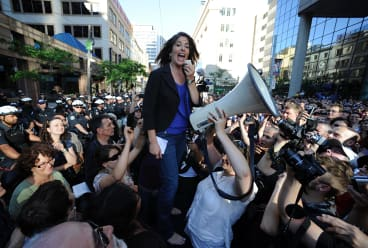 Naomi Klein speaks to a crowd of protesters in Toronto outside a meeting of G20.