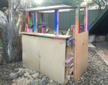 A cubbyhouse built by children at a preschool in  Adamstown as part of a program exposing them to risk. They built it using hammers, saws and powertools (under supervision.)