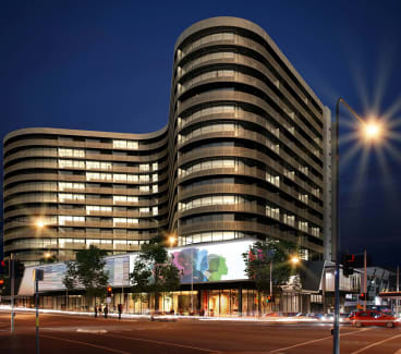 An artist's impression of QIC's proposed section 96 development, looking from Lonsdale St at the apartment tower.