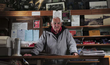 Val Jeffery at the Tharwa General Store, which he ran for many years before his political career and where he returned after.