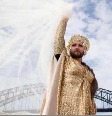 Artist Liam Benson on a Sydney Ferry to promote Sydney Art Week.