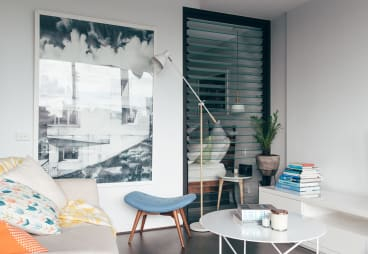The compact study area in the bedroom Bertram shares with partner Marika Neustupny