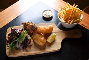 King prawns and fries at Jimmy Watson's.