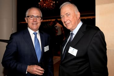 Malcom Turnbull and Jack Cowin at St Vincent's Private Hospital fundraiser at the home of John Symonds.