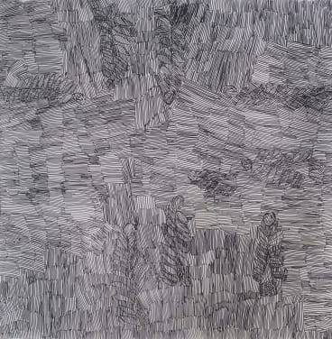 <i>Larrani</i>, by Nyapanyapa Yunupingu, black fibre-tipped pen on paper.